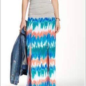 Tie Die Maxi skirt with leg slits by Tart